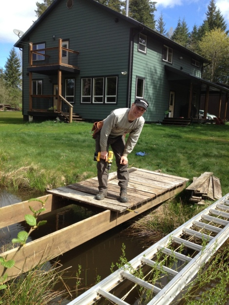 With the dock frame rolled into place, we were able to replace the decking boards and finally access the island!