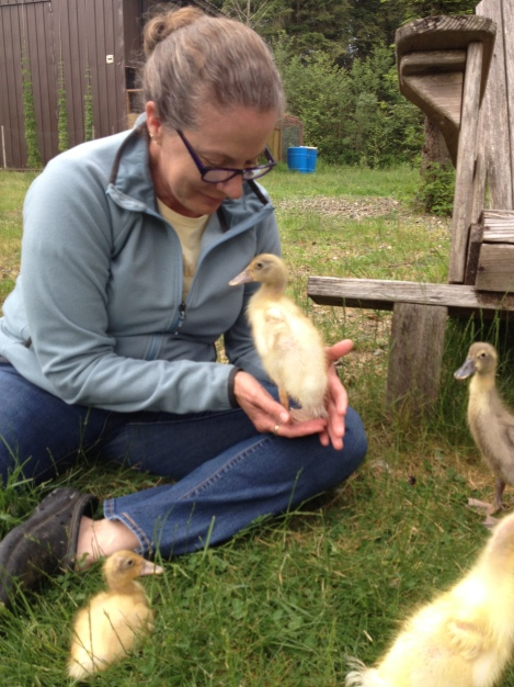 Cathy and Wade bonded with our new ducklings during their visit in June.